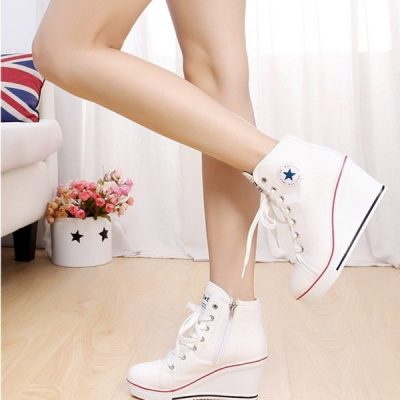 Canvas High Top Wedge