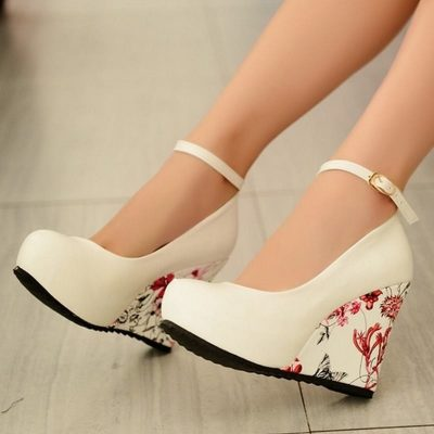 Flower Print Wedges