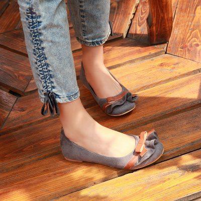 Leather Slip-on Bowtie Ballet