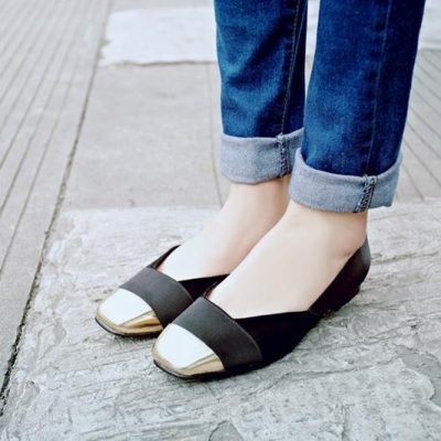 New Leather Square Toe Flats